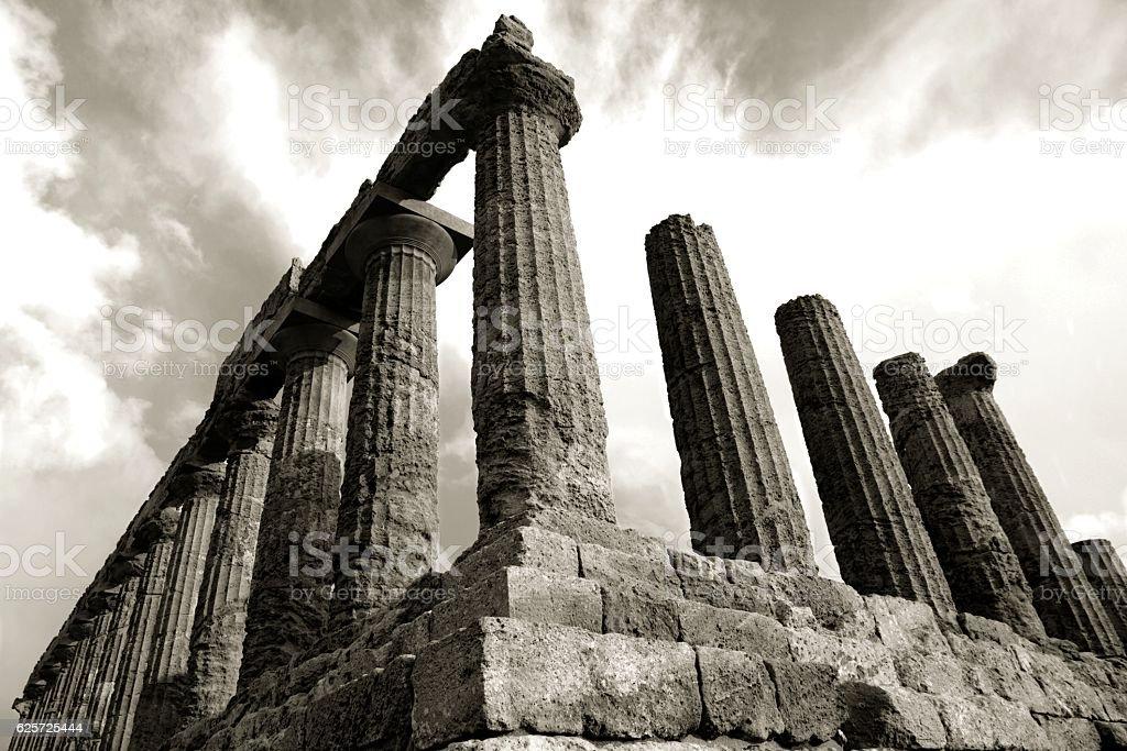 Temple of Juno doric ancient Greek Agrigento Sicily Italy Archaeology stock photo