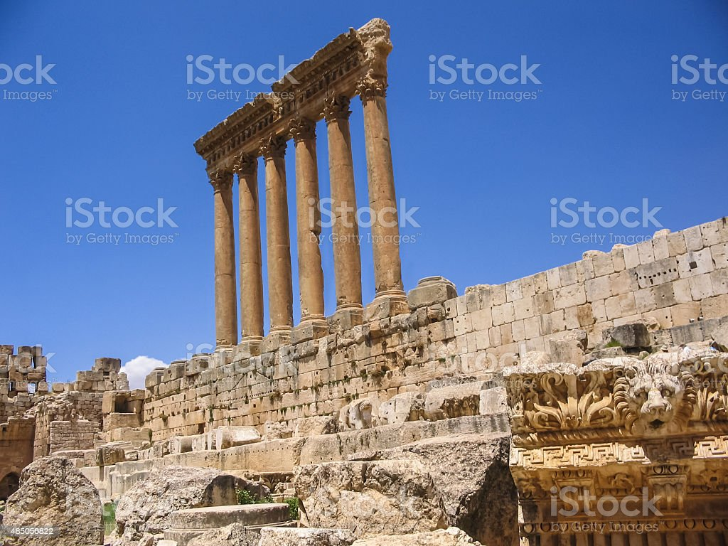 Temple of Jupiter in Baalbeck Lebanon stock photo