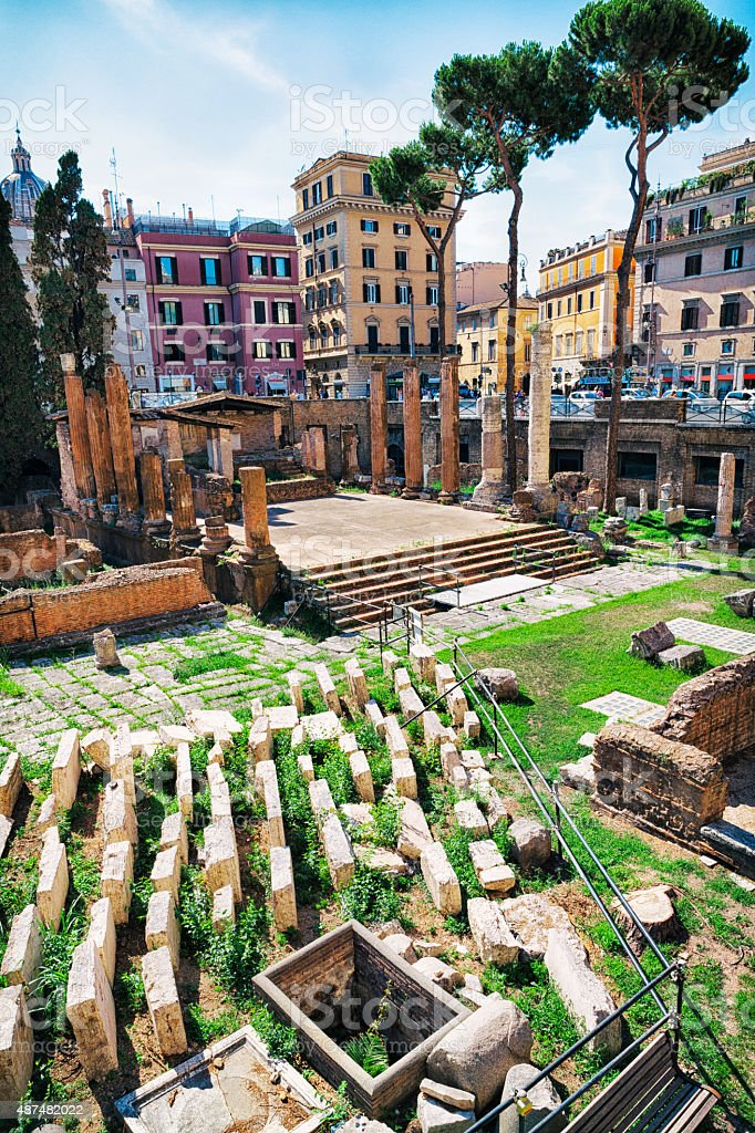 Temple of Juturna at Largo di Torre Argentina, Rome, Italy stock photo