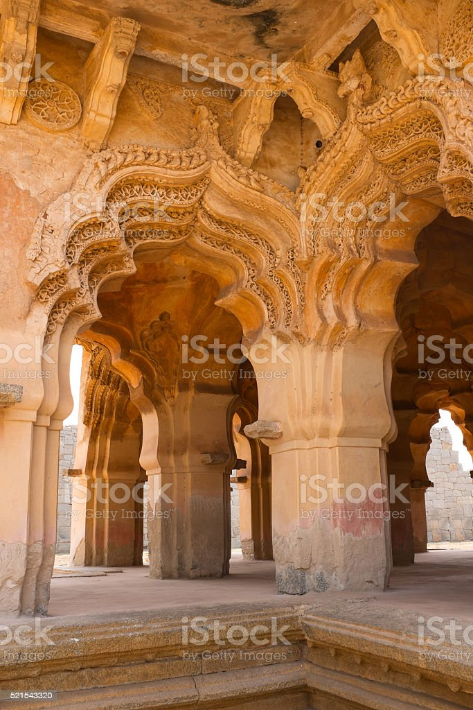Temple of Lotus Mahal in Hampi, India stock photo