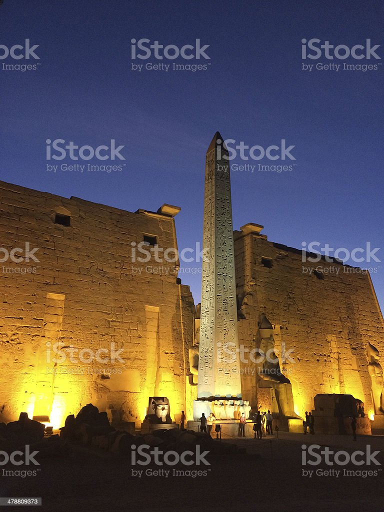Temple of Luxor at night stock photo