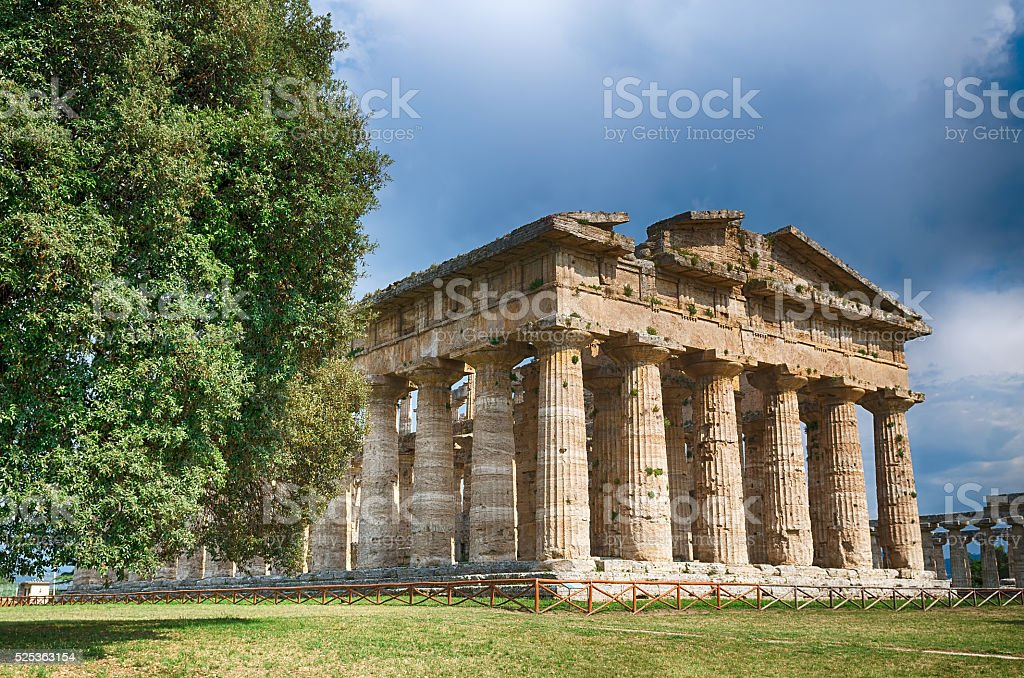 Temple of Neptune in High Dynamic Range.  Paestum archaeological stock photo