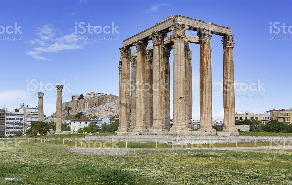 Temple of Olympian Zeus, Acropolis in background, Athens, Greece royalty-free stock photo