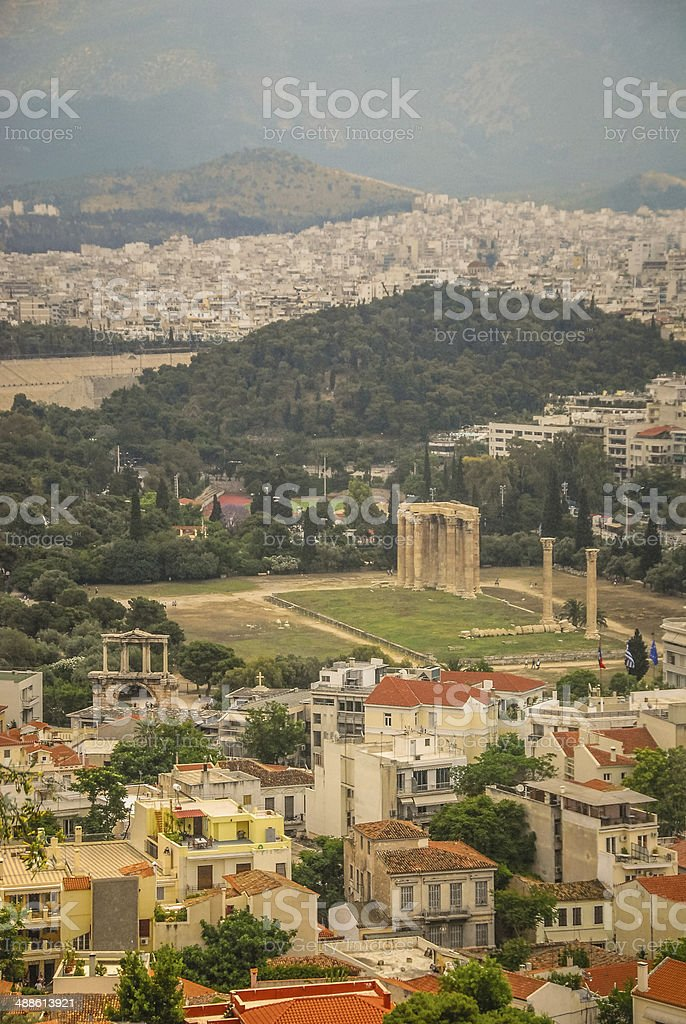 Temple of Olympian Zeus from Above stock photo