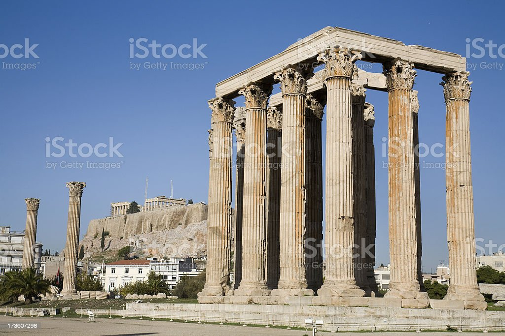 Temple Of Olympian Zeus in Athen stock photo