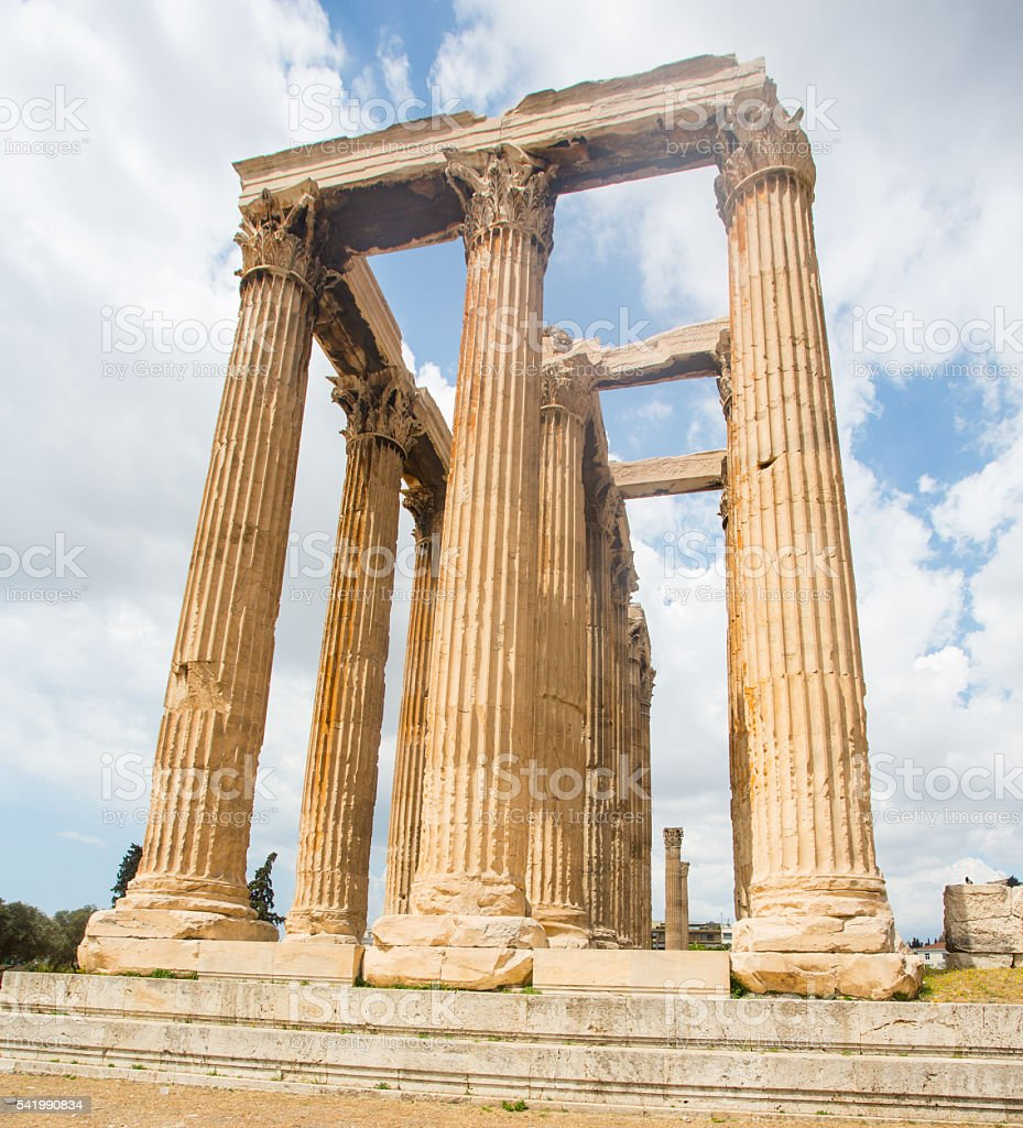 Temple of Olympian Zeus in Athens, Greece. stock photo