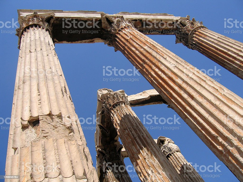 Temple of Olympian Zeus Ruins royalty-free stock photo