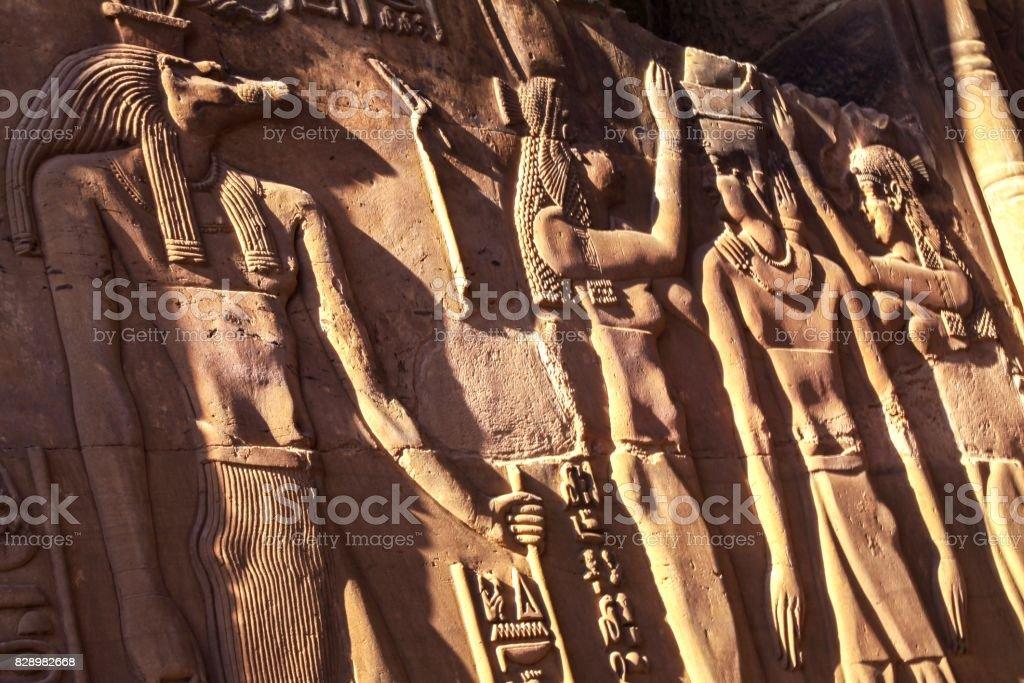 Temple of Philae Murals stock photo