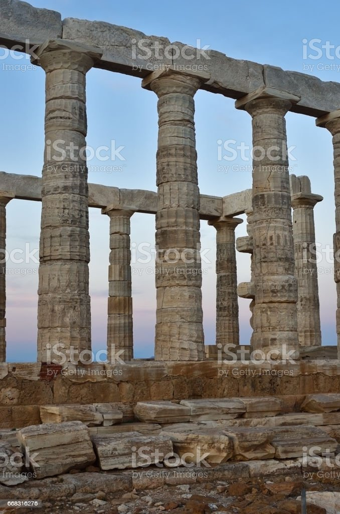 Temple of Poseidon at Cape Sounion Attica Greece at sunset stock photo