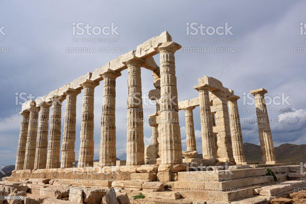 Temple of Poseidon at Cape Sounion Attica Greece stock photo