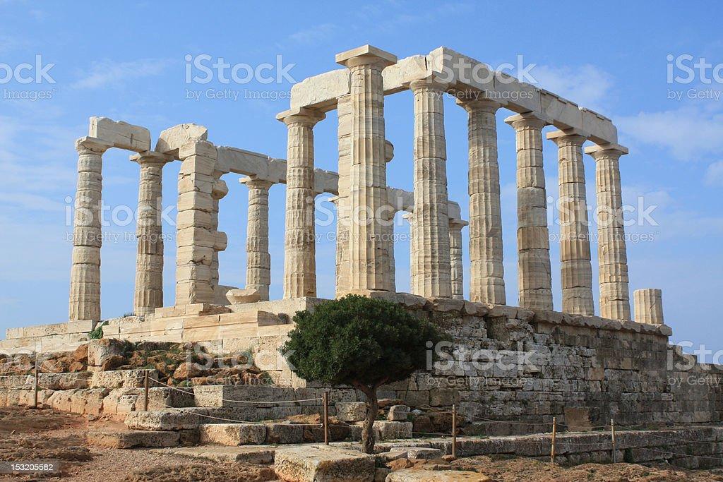 Temple of Poseidon at Cape Sounion, Greece. stock photo
