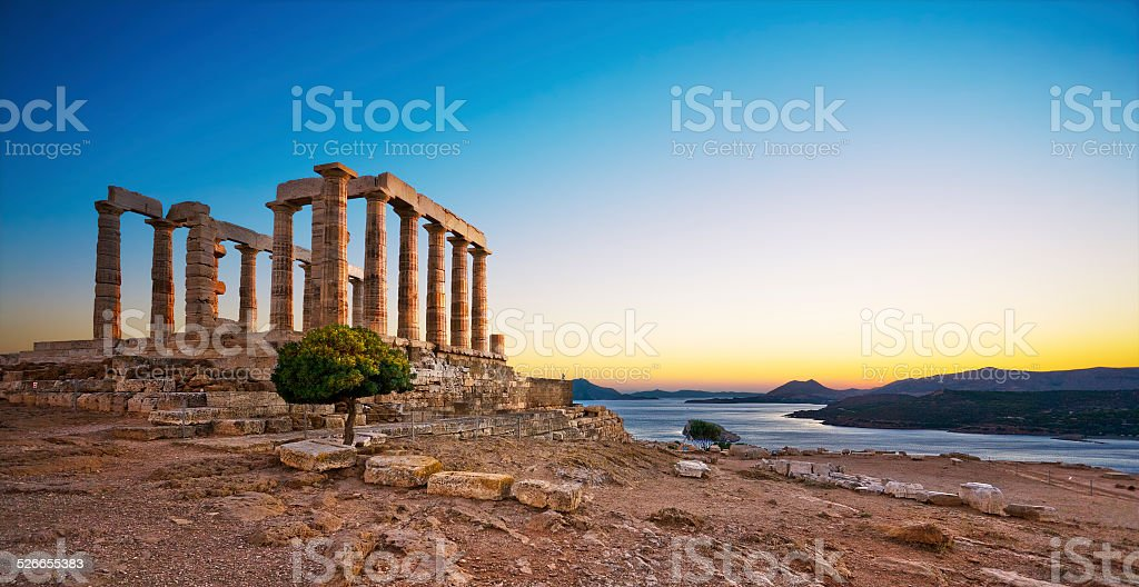 Temple of Poseidon at Cape Sounion, Greece stock photo