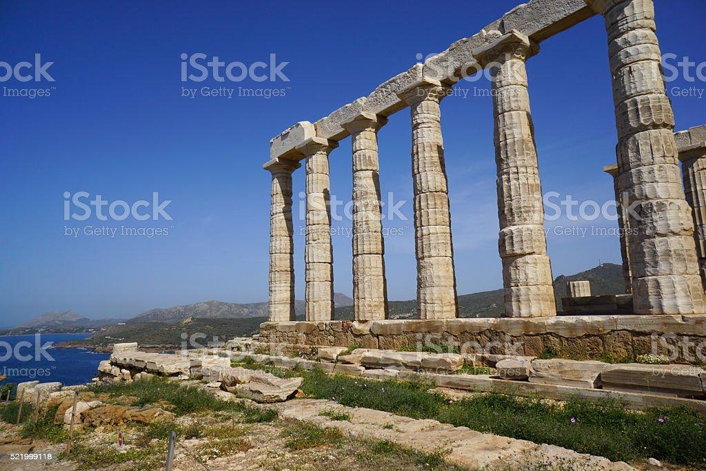 Temple of Poseidon at Cape Sounion near Athens, Greece. stock photo