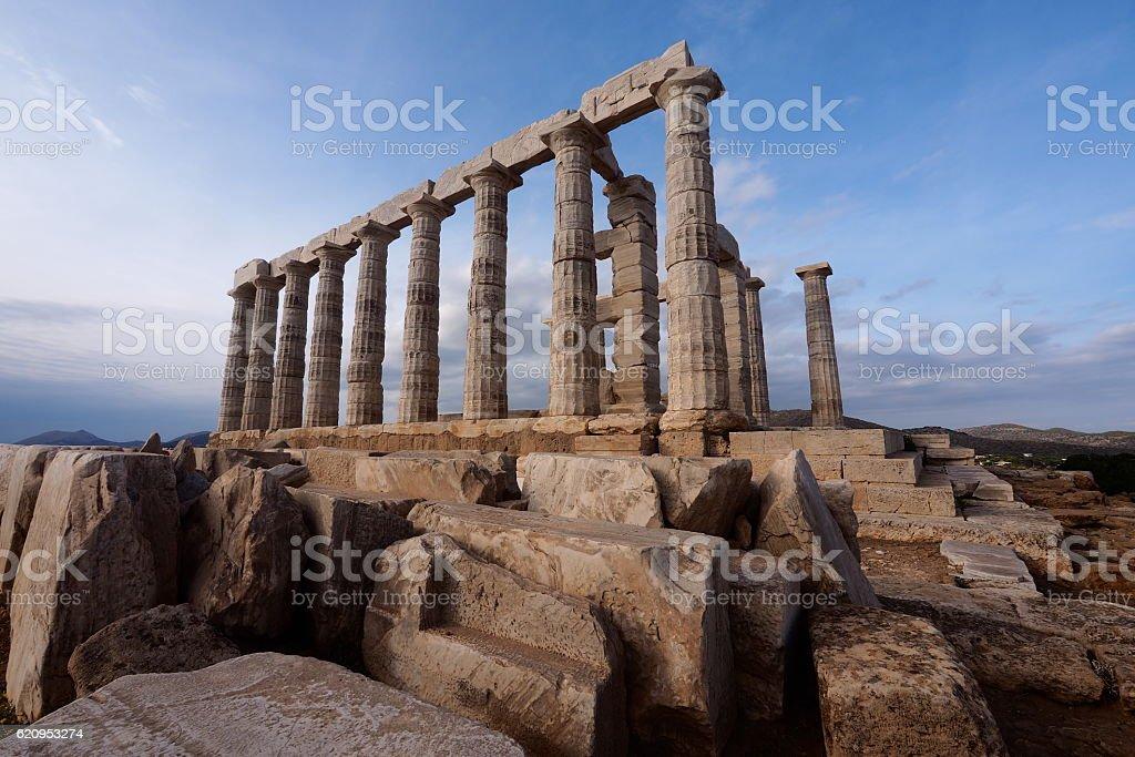 Temple of Poseidon, Cape Sounion, Athens, Greece stock photo