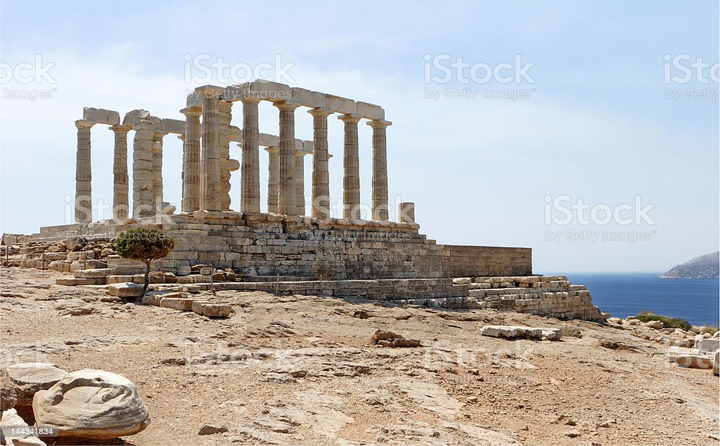 Temple of Poseidon, Cape Sounion stock photo