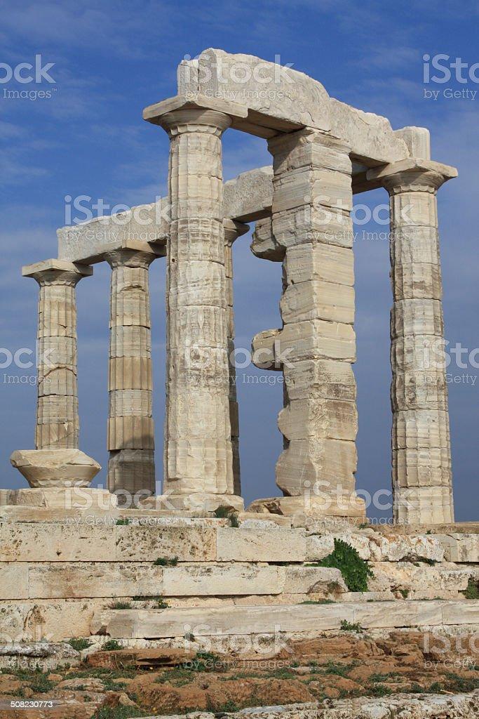 Temple of Poseidon in Greece stock photo