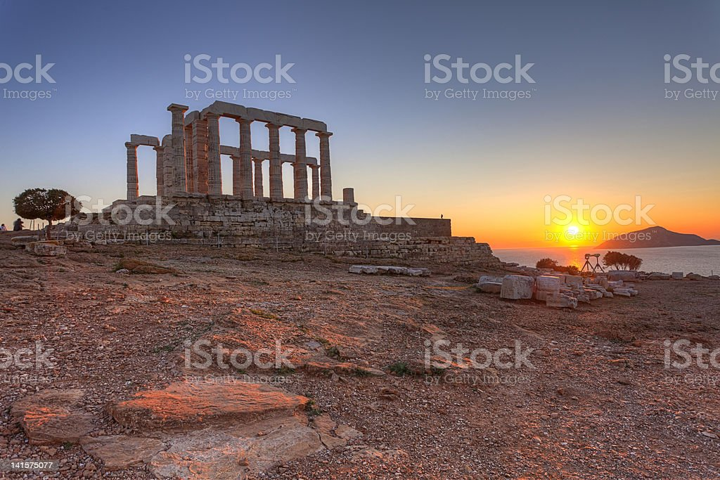 Temple of Poseidon in Sounio, Greece royalty-free stock photo