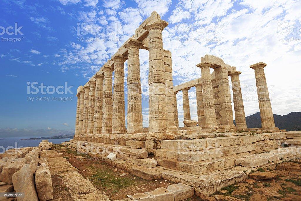 Temple of Poseidon on Mediterranean sea, Athens stock photo
