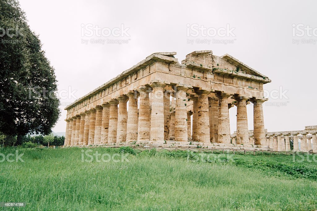 Temple of Poseidon, Paestum, Italy stock photo