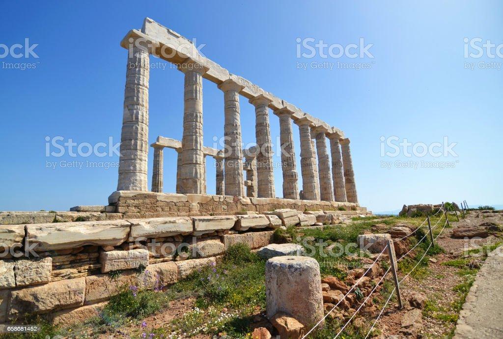 temple of Poseidon Sounion Greece stock photo