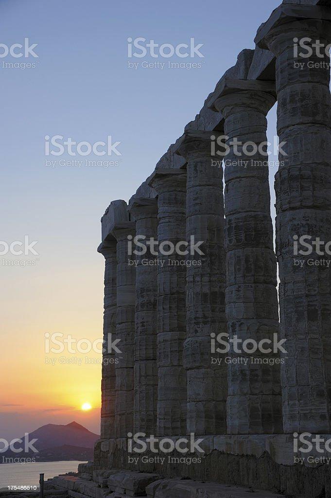 Temple of Poseidon - Sunset stock photo