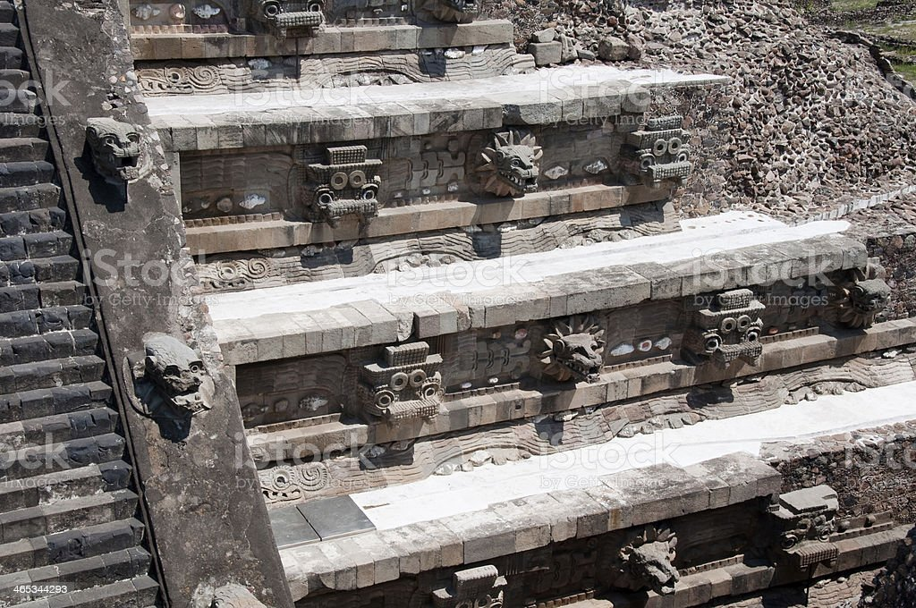 Temple of Quetzalcoatl, Teotihuacan (Mexico) stock photo