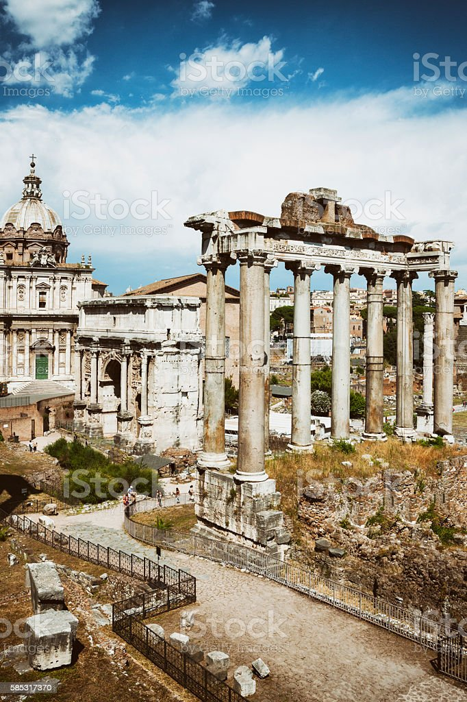 Temple of Saturn and Arch of Septimius Severus, Rome, Italy stock photo