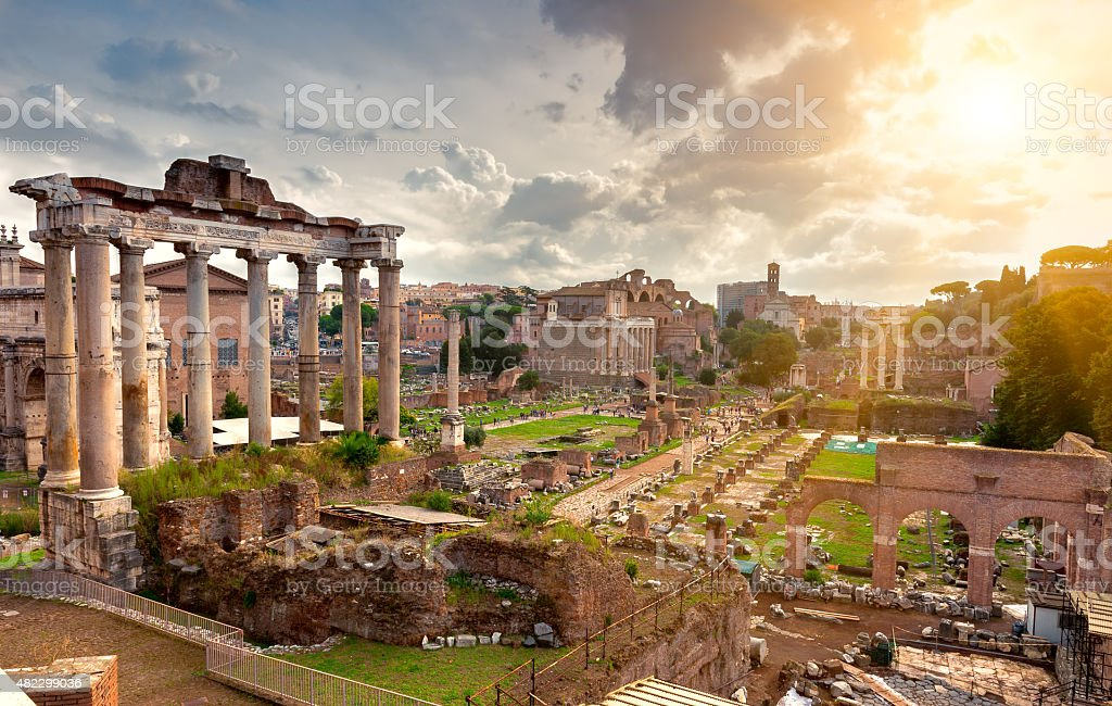 Temple of Saturn and Forum Romanum in Rome stock photo