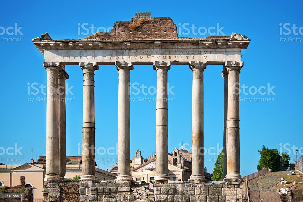 Temple Of Saturn in Rome royalty-free stock photo