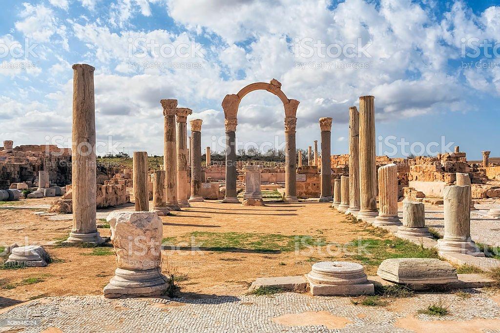 Temple of Serapis - Ruins of  Sabratha / Libya / Africa stock photo