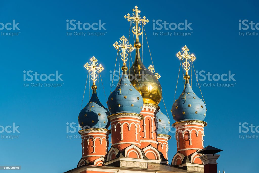 Temple of St. George the Victorious on Pskovskaya Hill. Russia stock photo