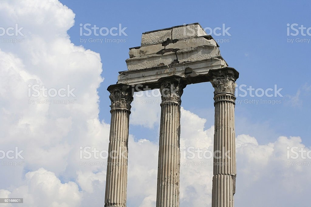 Temple of the Castores at Roman Forum in Rome, Italy royalty-free stock photo