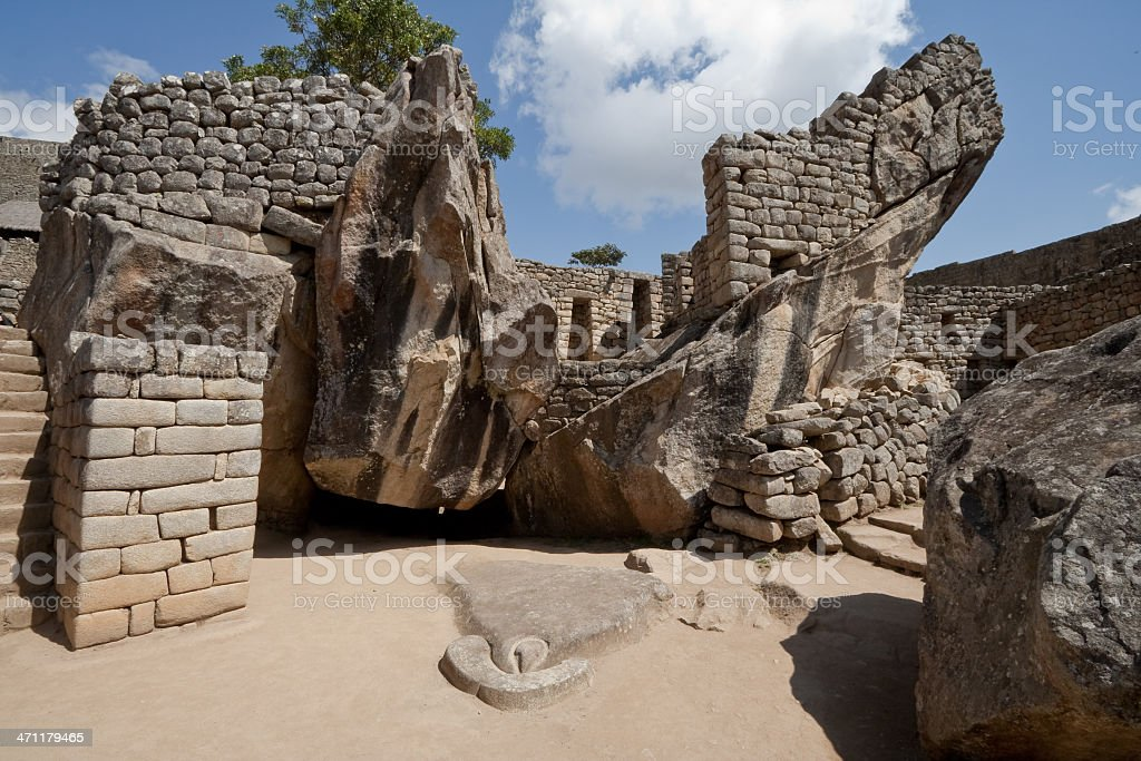 Temple of the Condor at Machu Picchu, Peru stock photo