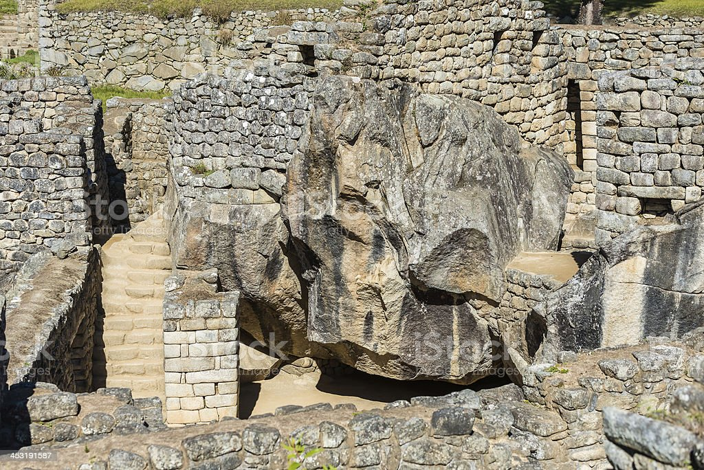 temple of the condor Machu Picchu ruins Andes Cuzco Peru stock photo