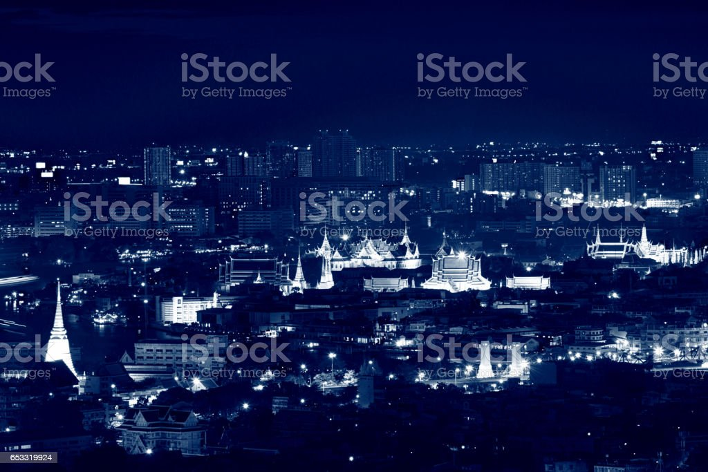 Temple of the Emerald Buddha and Grand Palace at night, Bangkok, Thailand stock photo