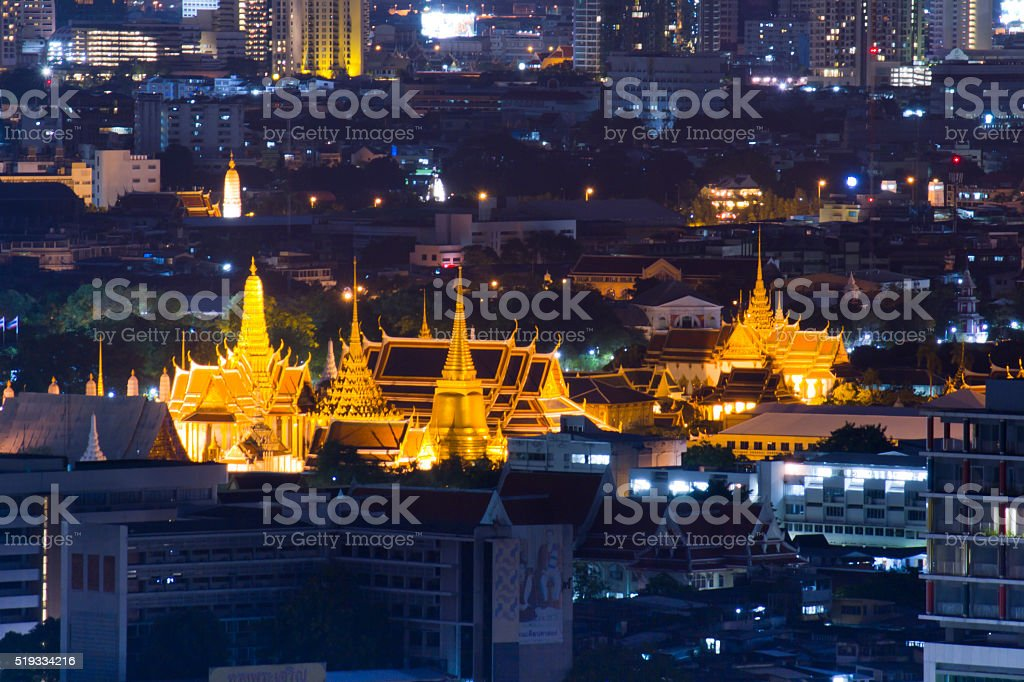 Temple of the Emerald Buddha at night stock photo