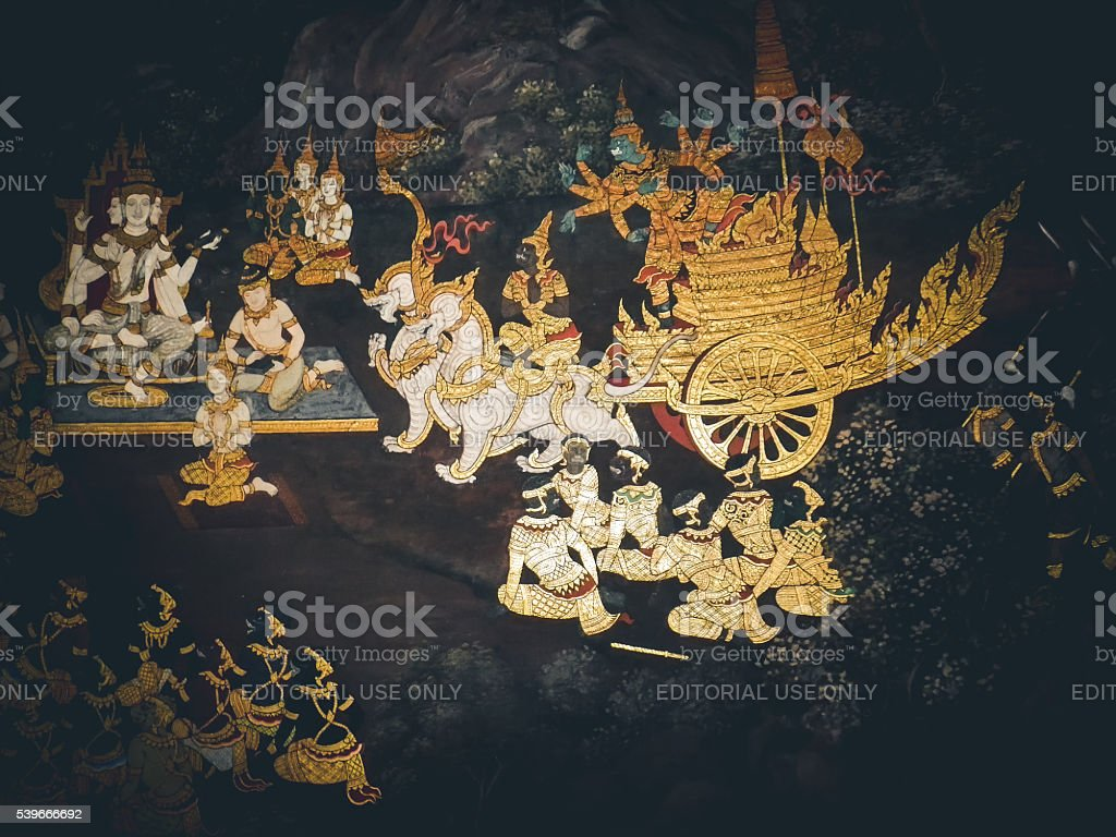 Temple of the Emerald Buddha Mural, Grand Palace stock photo