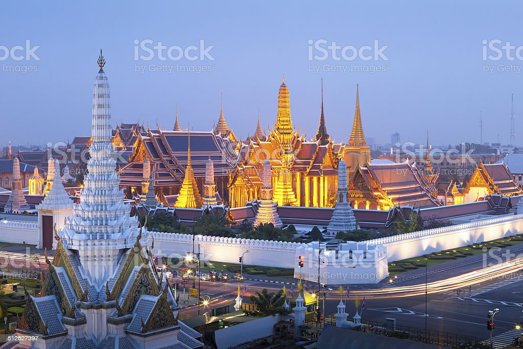 Temple of the Emerald Buddha or Wat Phra Keaw stock photo