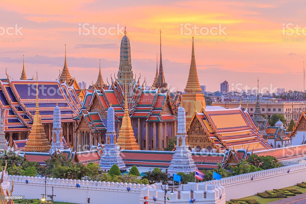 Temple of the Emerald of buddha or Wat Phra Kaew stock photo