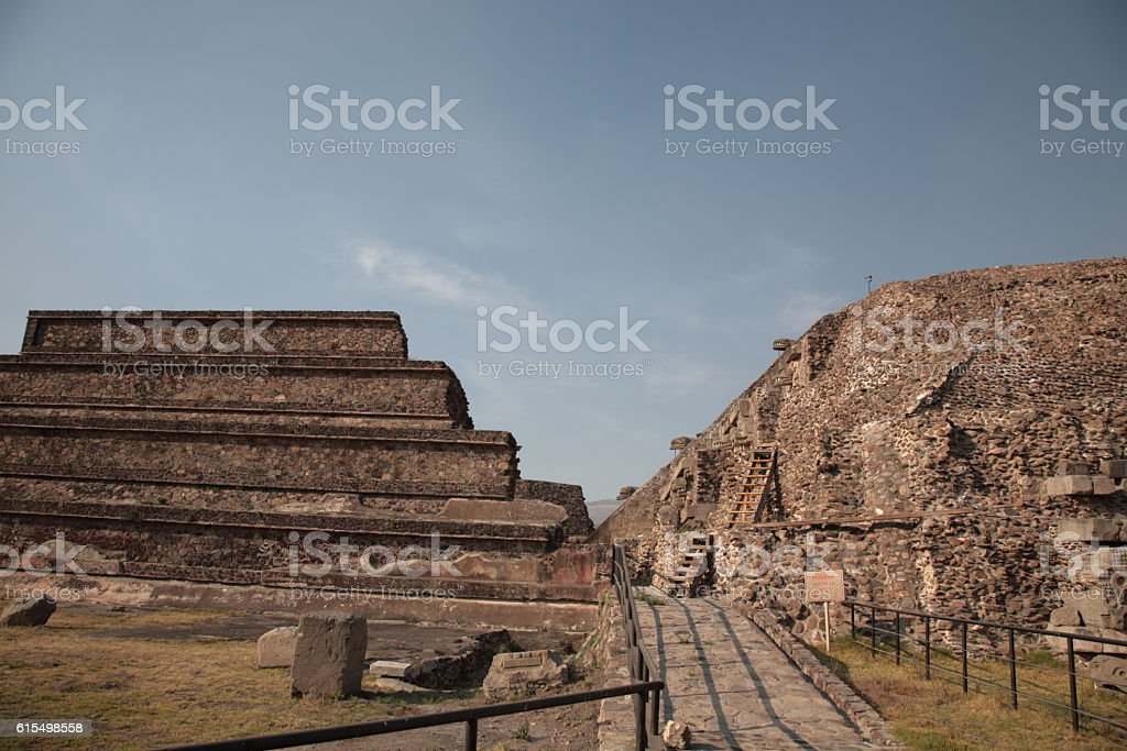 Temple of the Feathered Serpent at Teotihuacan, Mexico stock photo