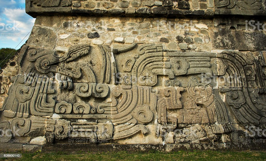 Temple of the Feathered Serpent in Xochicalco, Mexico. stock photo