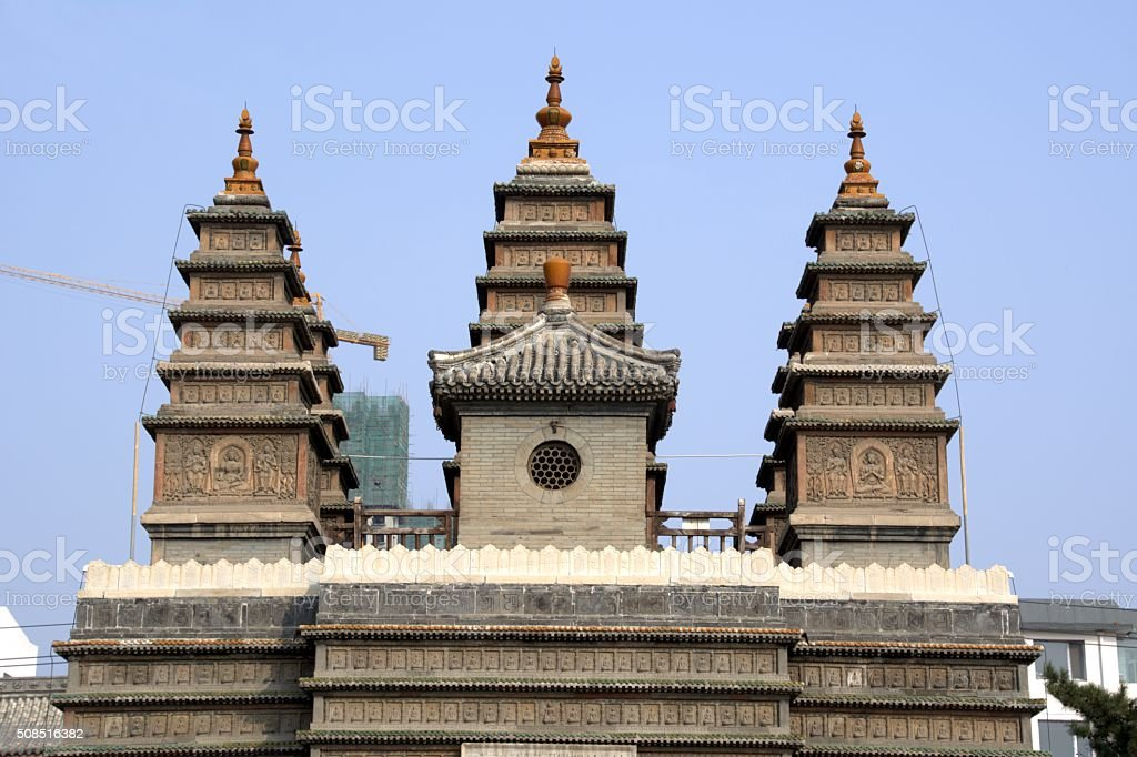 Temple of the Five Pagodas complex - Hohhot, Inner Mongolia stock photo