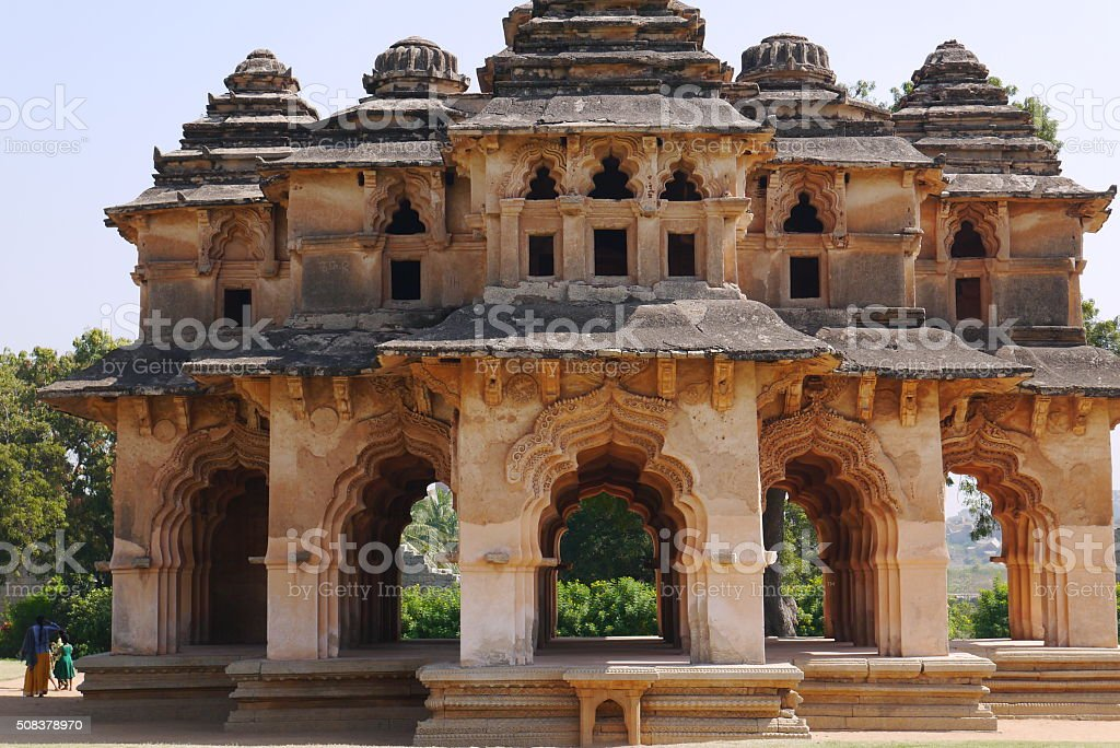 Temple of the Lotus and Hampi stock photo