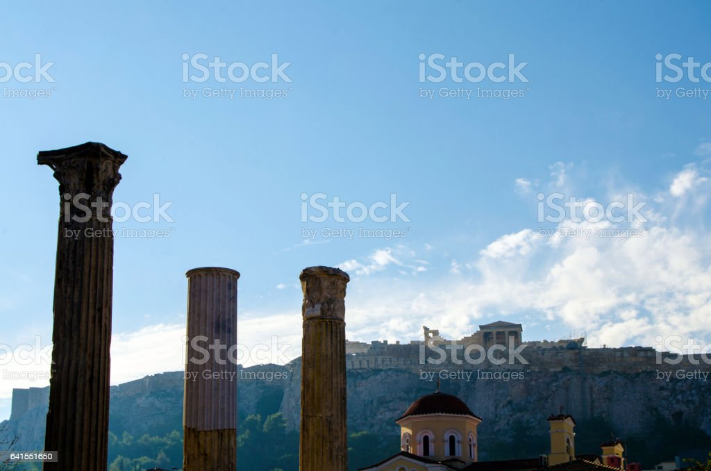 Temple of the Olympian Zeus and the Acropolis in Athens, Greece stock photo