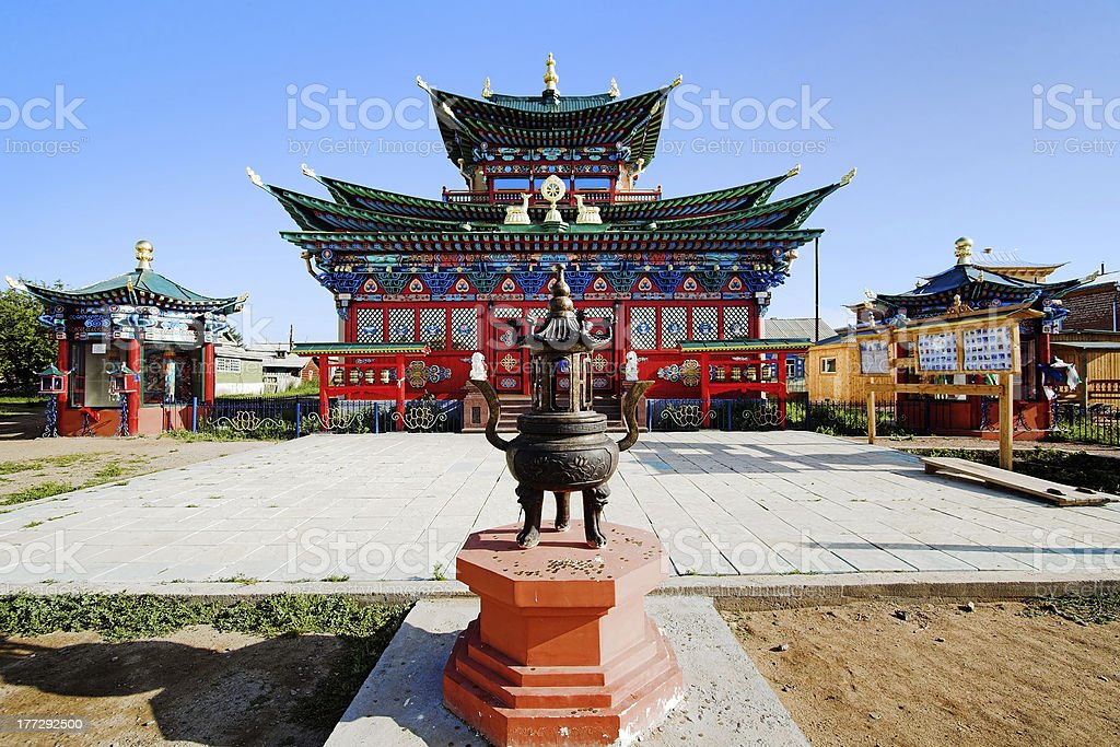 Temple of the Pure Land in Ivolginsky Datsan, Buryatia, Russia stock photo