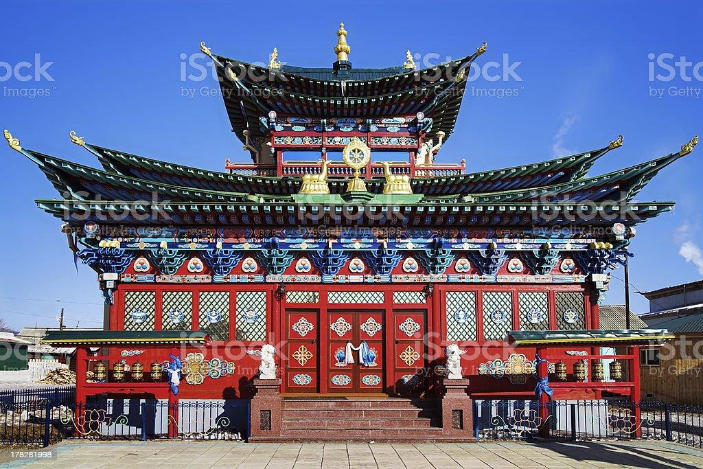 Temple of the Pure Land in Ivolginsky Datsan, Buryatia, Russia stock photo