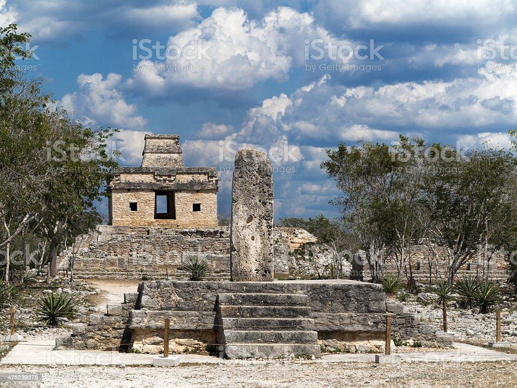 Temple of the Seven Dolls, Dzibilchaltun stock photo