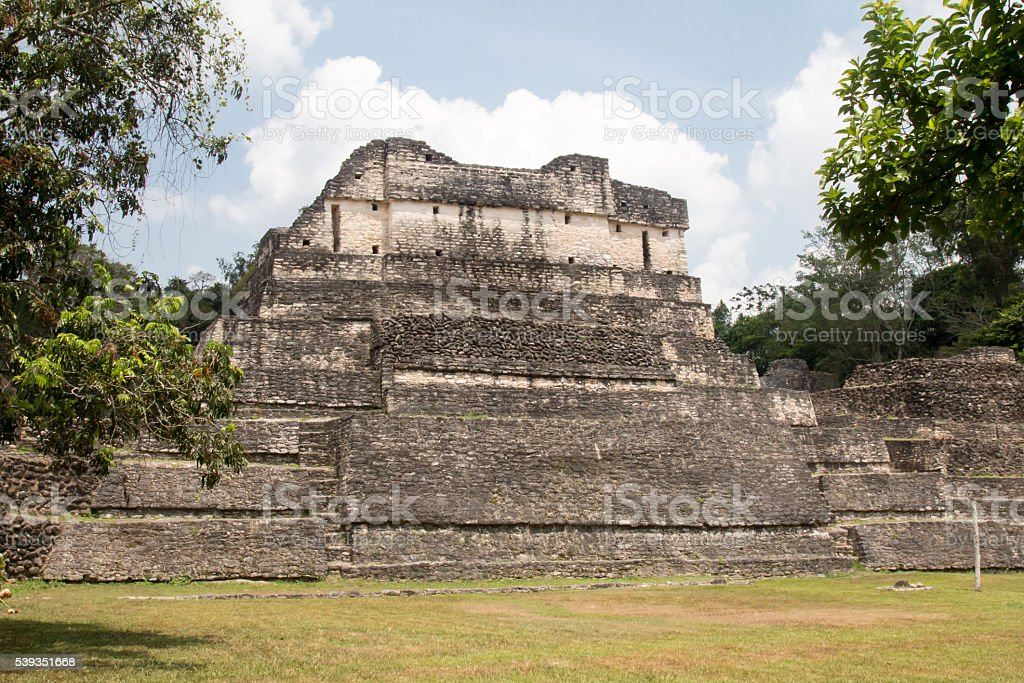 Temple of the Wooden Lintel at Caracol in Belize stock photo