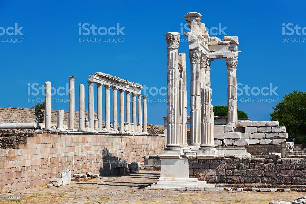 Temple of Trajan at Acropolis of Pergamon in Turkey stock photo