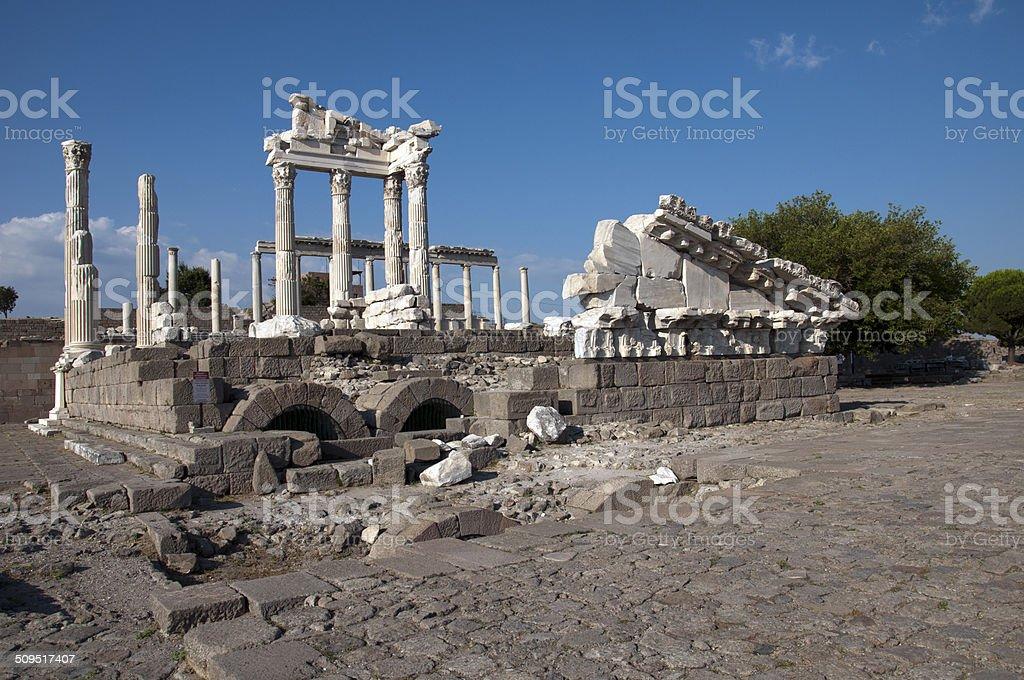 Temple of Trajan at Acropolis of Pergamon stock photo